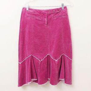 Anthro Louie Pink Magenta Western Raw Hem Skirt